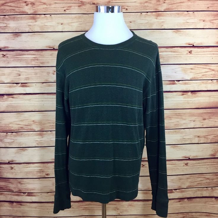 prAna Mens Pullover Crew Neck Sweater Large Long Sleeve Green Stripe Soft Shirt!  | eBay
