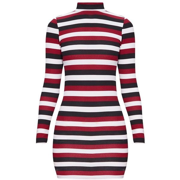 Burgundy Striped High Neck Long Sleeve Bodycon Dress ($8) ❤ liked on Polyvore featuring dresses, striped dresses, longsleeve dress, long sleeve dress, high-neck dresses and stripe dresses