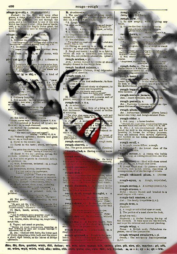 Marilyn Monroe Art Print, Marilyn Monroe in Red Dress, Book Art, Wall Decor, Dictionary Art Print, Mixed Media Collage