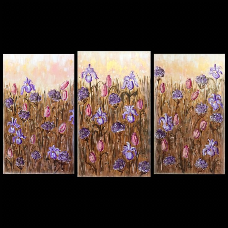 "Cindy's Flowers, Series 1,2,3, Dianne Clinton 2016, mixed media on canvas, 18"" X 30"" each - sold"
