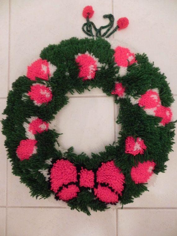 Handmade Latch Hook Rug Christmas Wreath by baublesandblingforu, $30.00