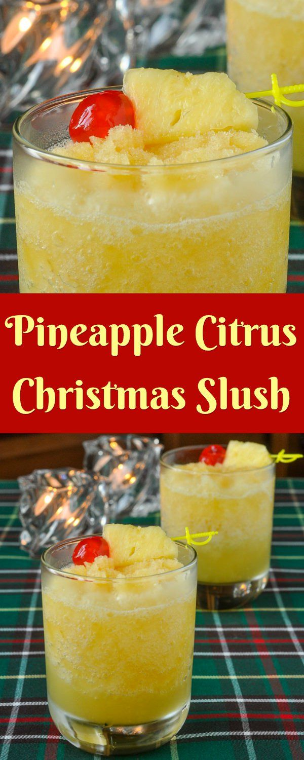 Newfoundland Christmas Slush - a frosty blend of pineapple & citrus juices frozen together with amber rum to create a base for a delicious Holiday cocktail.