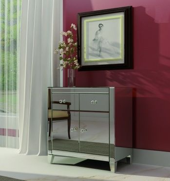 Two drawer and two door straight edge beveled mirrored chest