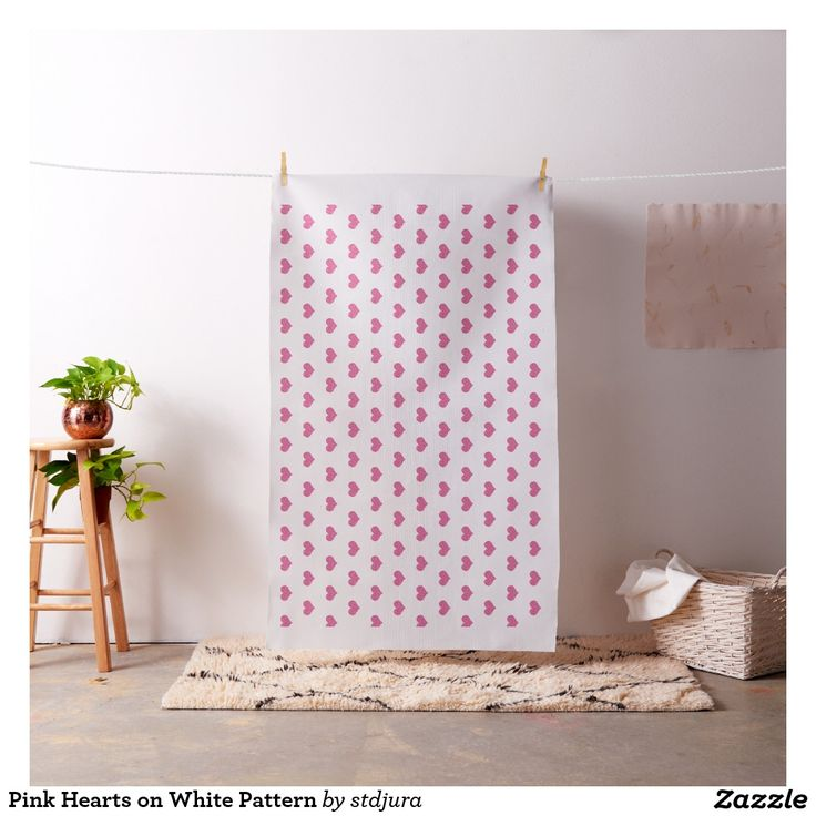 Pink Hearts on White Pattern Fabric