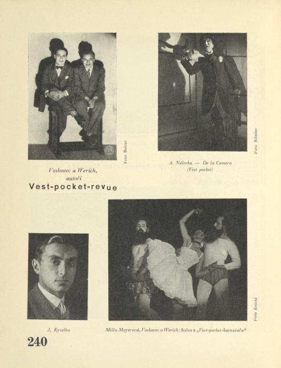 Vest-pocket-revue. Voskovec a Werich, autoři; A. Nalevka - De la Camera; J. Kyselka; Milča Mayerová, Voskovec a Werich: scéna z 'Vest-pocket...
