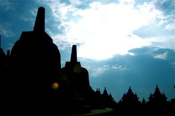 Borobudur at sunrise. #Indonesia #Unesco