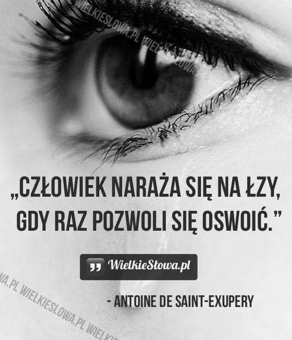 Człowiek naraża się na łzy... #SaintExupery-Antoine-De,  #Ból,-cierpienie,-łzy, #Człowiek