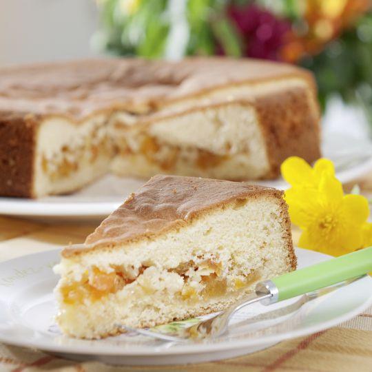 Saure-Sahne-Kuchen mit Aprikosen