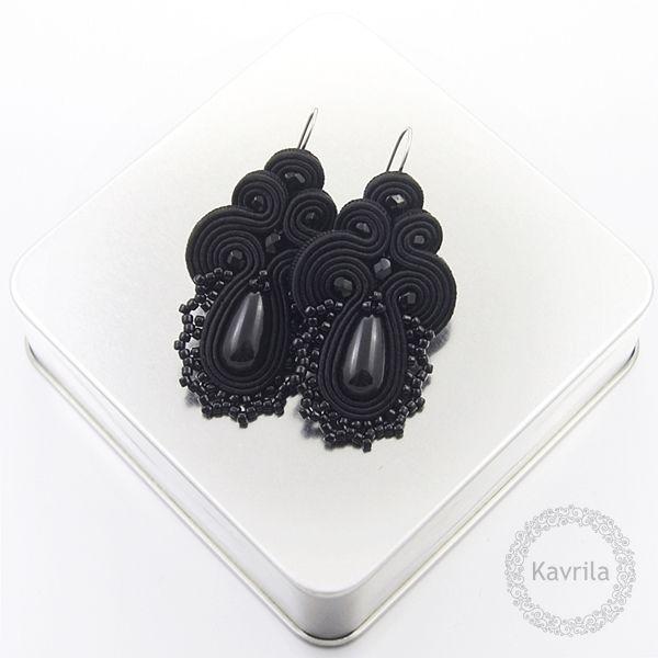 Lace black soutache - kolczyki czarne sutasz KAVRILA #sutasz #kolczyki #wieczorowe #rękodzieło #soutache #handmade #earrings #night #black #kavrila