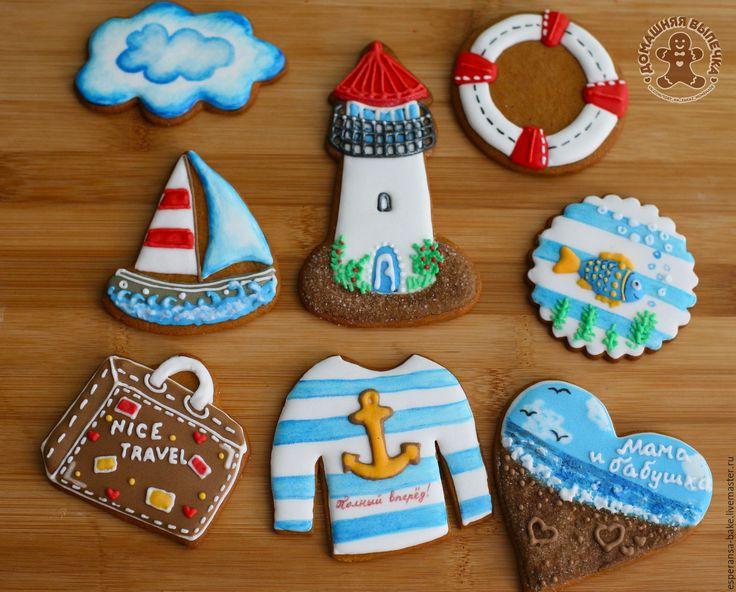 Sea inspiration! Gingerbread / Купить Морской набор для путешественника - имбирные пряники, имбирное печенье, именной подарок, имбирный пряник