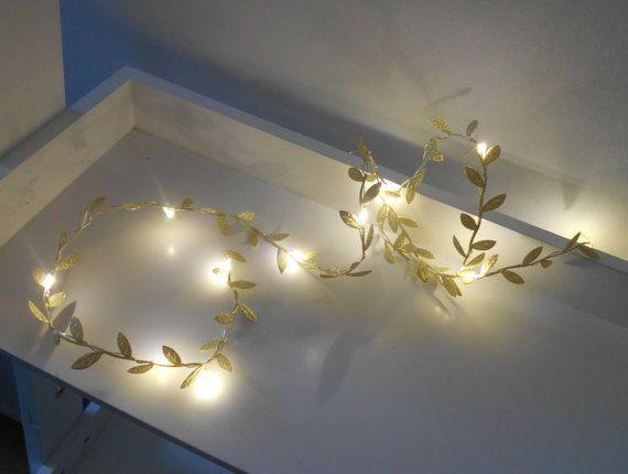 Gold Leaf Wire Garland With Mini LED 2m 3m 4m by AutumnWeddings