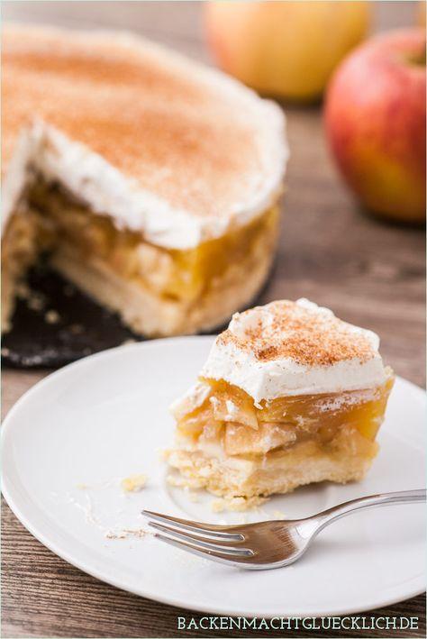 Backen macht glücklich | Bestes Apfelkuchen-Rezept: Apfeltorte mit Zimt-Sahne | http://www.backenmachtgluecklich.de