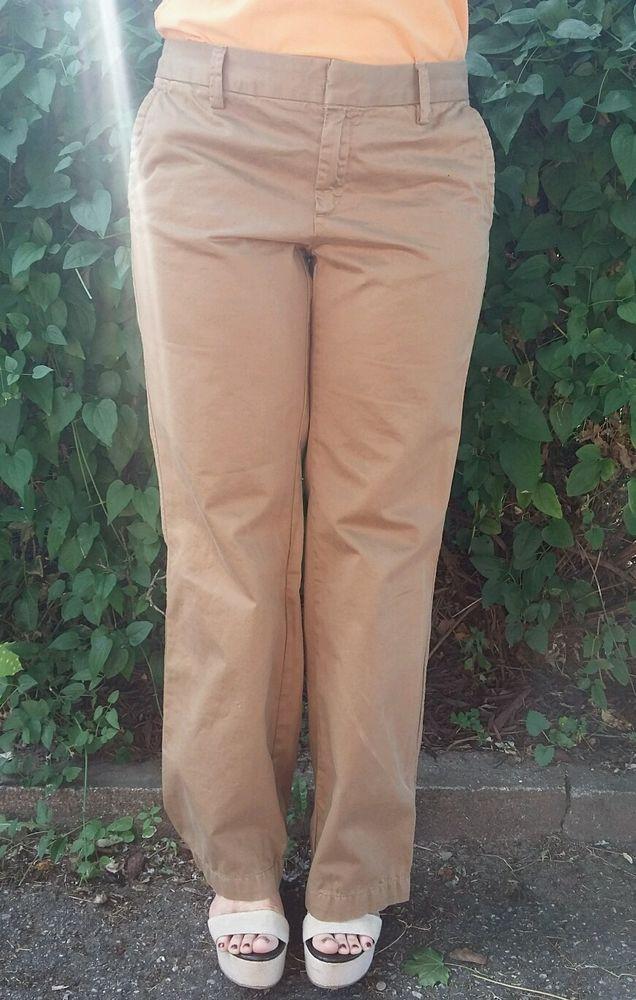 GAP Woman's Khaki Tan Straight Leg Straight Fit Ankle Pants Size 6 #GAP #KhakisChinos