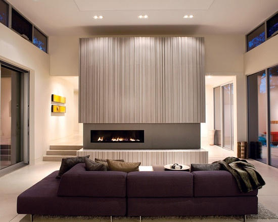 living room purple yellow and grey design pictures remodel decor and ideas fireplace modernfireplace - Modern Fireplace Design Ideas