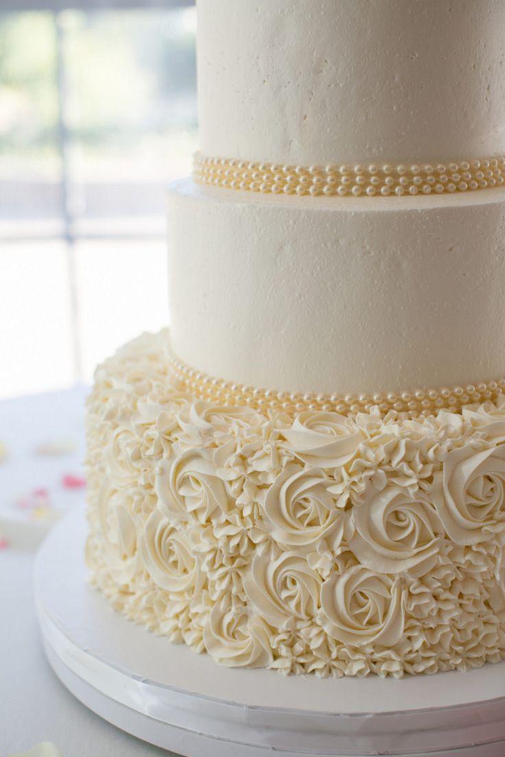 Buttercream Rosettes & Hydrangea Wedding Cake Detail | by Creative Cakes - Tinley Park www.realbuttercream.com