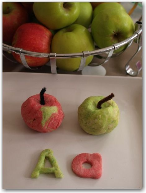 Apple play dough - a fun way to learn letters