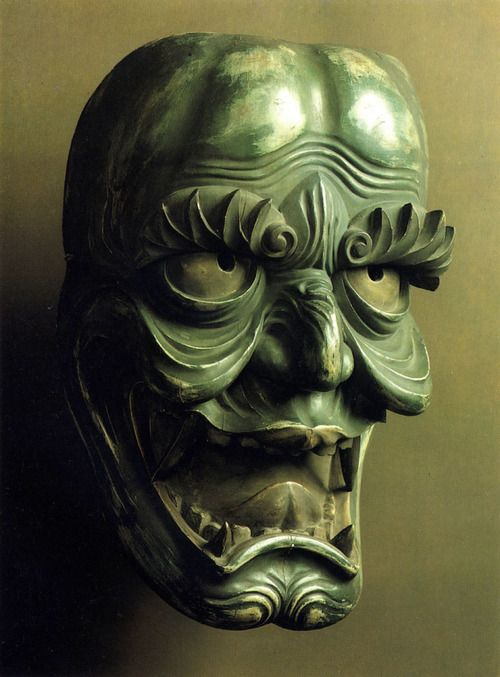Bugaku mask Japan. 17th century Wood, carved and lacquered.