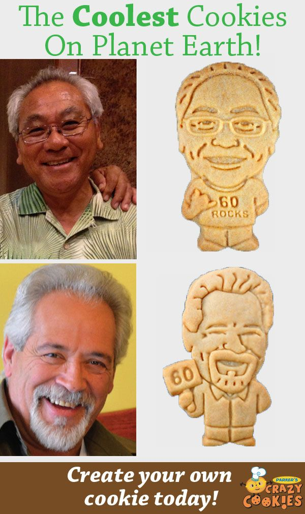 Design your own custom cookie for his 60th birthday party!! Cookies start at only .85 each!! Discover the magic at www.parkerscrazycookies.com. As seen on the Today Show and Food Network Channel.