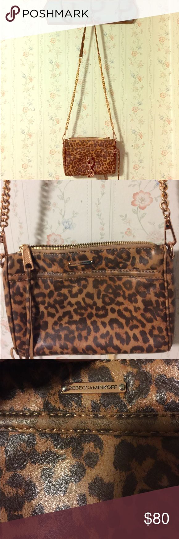 Rebecca Minkoff mini mac leopard print Mini mac super cute and rare. Has rose gold details and in very good shape. Rebecca Minkoff Bags Crossbody Bags