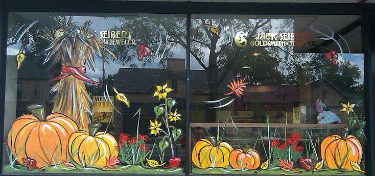 fall window painting idea for bay window