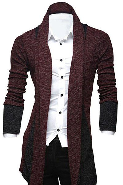 Turn-Down Collar Color Block Splicing Long Sleeve Lengthen Cardigan For Men