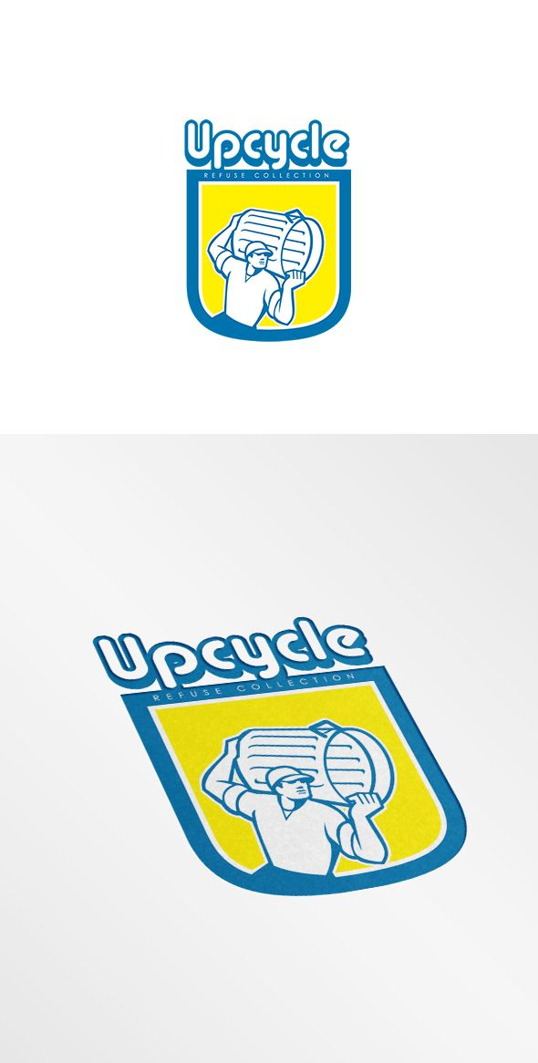Upcycle Refuse Collection Logo. Logo showing illustration of a garbage collector carrying garbage waste rubbish bin looking to the side set inside circle shape on isolated background done in