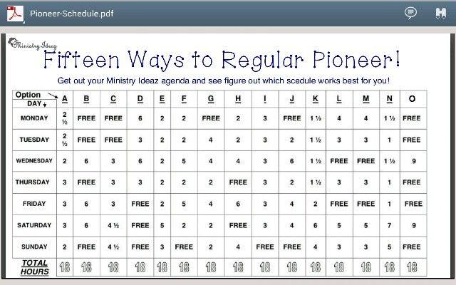 Pioneer Schedules