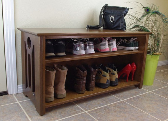 Mac Shoe Or Boot Storage Bench In Mocha With Black Accents By Woodistry.  $349.00.