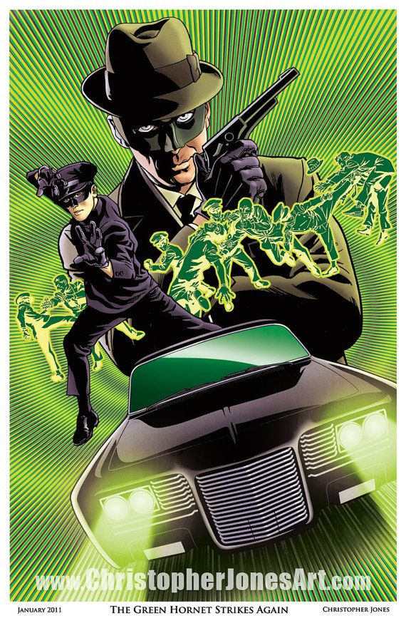 This print is based on the 1960s television series The Green Hornet and features the Green Hornet as played by Van Williams and Kato as played by the legendary Bruce Lee. The Green Hornet's sleek supercar The Black Beauty is also featured.