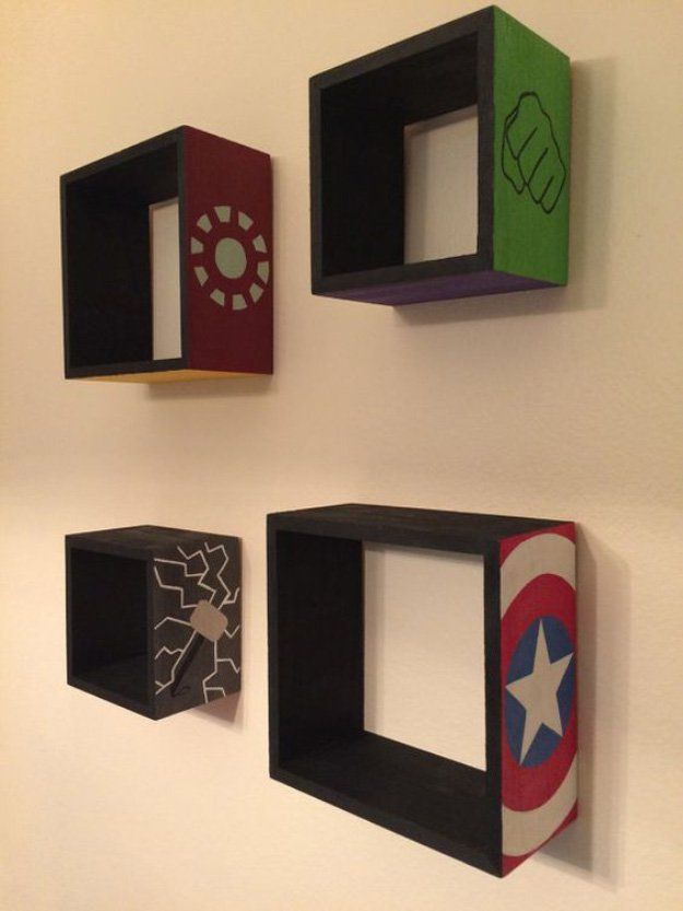 Avengers Wooden Floating Shelves DIY Bedroom Projects for Men   11 Awesome Man Cave Ideas, check it out at http://diyready.com/diy-bedroom-projects-for-men/ - Visit to grab an amazing super hero shirt now on sale!