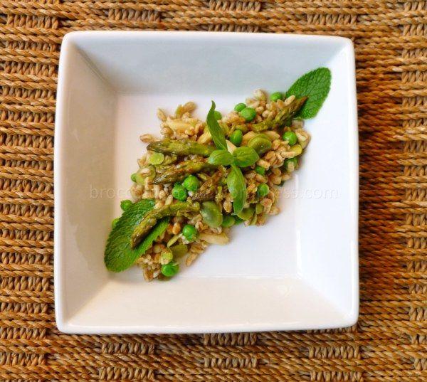 insalata di farro con asparagi,fave e piselli