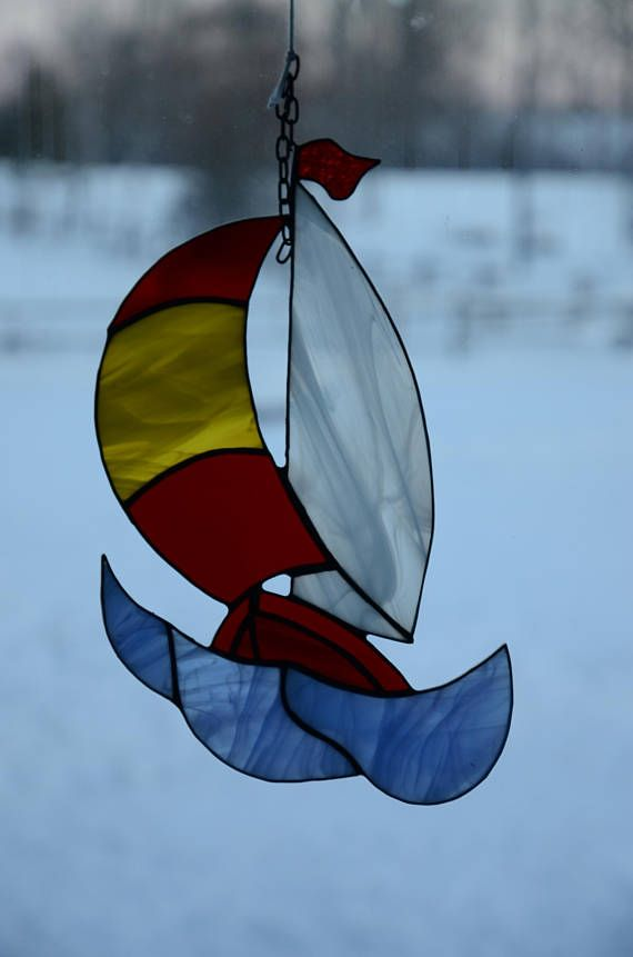 Stained Glass Sailboat Sun catcher