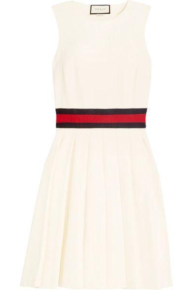 Gucci | Jersey-trimmed pleated twill mini dress | NET-A-PORTER.COM