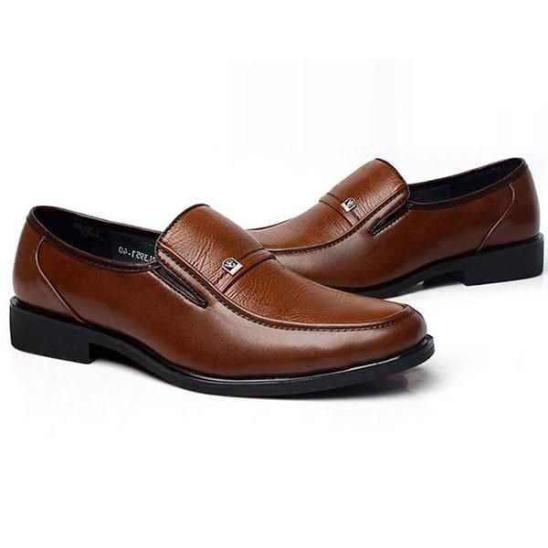 Mens Brown Oxford Shoes  Leather Work Business Dress Loafers