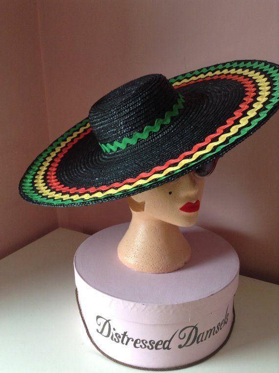 1950 s style wide brim black straw hat with ric rac braid trim ... 64f3efc7375c