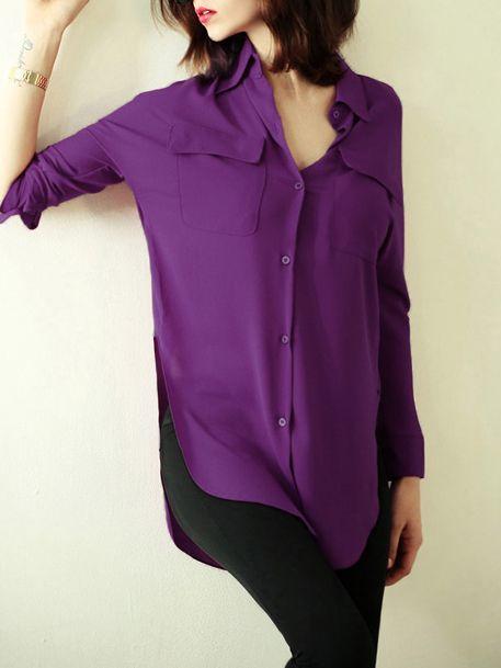 Purple+Lapel+Split+Pockets+Blouse+18.54
