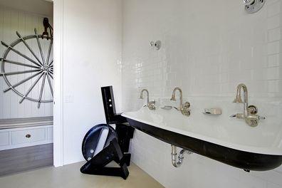erin martin: Boys Bathroom, Guest Bathroom, Kids Bathroom, For Kids, Trough Sinks, Martin Design, Bathroom Sinks, Farms Sinks, Kid Bathrooms