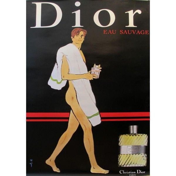 1979 Vintage Christian Dior Eau Sauvage Perfume Ad ($1,200) ❤ liked on Polyvore featuring home, home decor, home fragrance, posters, vintage figurines, home scents and christian dior
