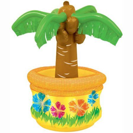 26 inch Palm Tree Inflatable Cooler, Multicolor