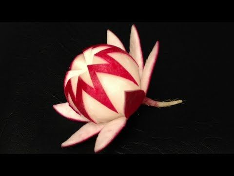 ▶ Simple Radish Waratah Flower - Lesson 21 by Mutita Art of Fruit & Vegetable Carving - YouTube