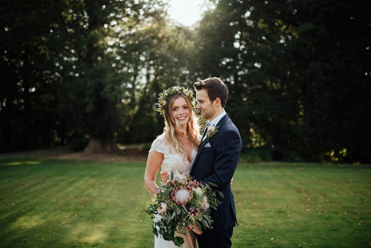 Bride in Bespoke Suzanne Neville Scarlett Bridal Gown | Groom in Herbie Frogg Suit & Liberty Print Mrs Bow Tie | The Lou\'s Photography