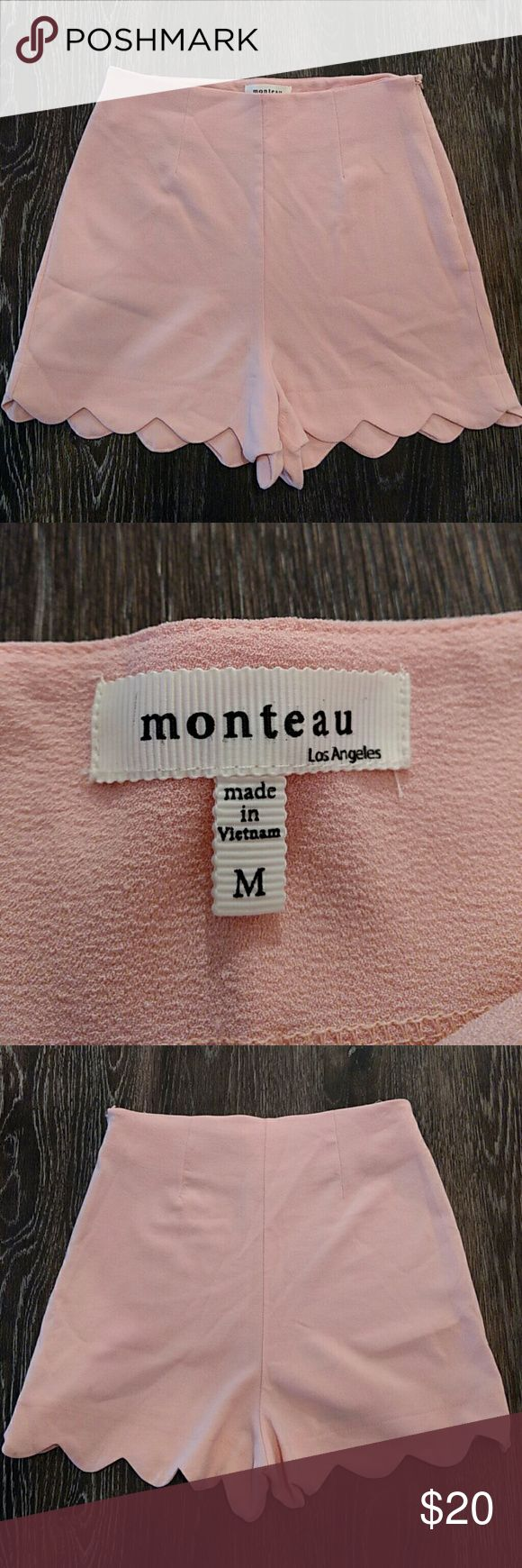 **Lowest Price**Blush Pink Scallop Hem Shorts These shorts are so cute and so versatile - would look great in the winter with a pair of tights! Never worn, simply don't fit me anymore. High waisted and a scallop hem. I would say they room small for a medium, probably between small and medium. Monteau Shorts