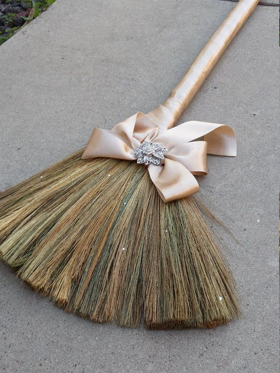 Wedding broom with bow and brooch by Brooch... I love this one but would want it in Grey....Etsy