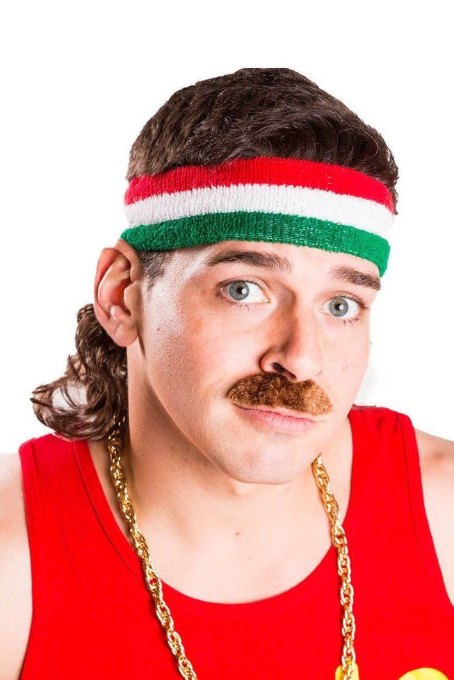 """Mullet On The Go Adult Costume 12"""" Wavy Headband Wig The Big Baller"""