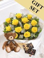 Heavenly Yellow Rose Hand-tied, Chocs & Benjamin Bear