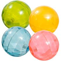 "These are a favorite at our house. They sparkle and bounce high and light up, what's not to love? I keep extras in my closet for when my friends' kids come over, so ""Auntie always has a special present for you."" Light Up Rubber Bouncing Balls, 4"" , $1, DollarTree"