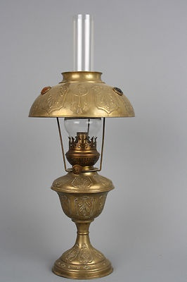 Antique Art Nouveau French Brass Oil Lamp With A Glass