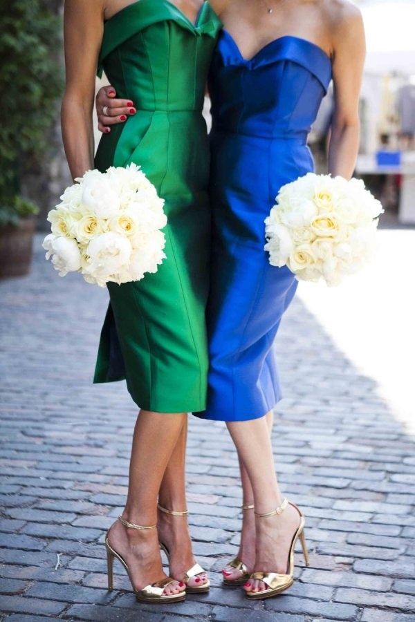 I'm liking the style and two colors! --- Bridesmaids that put the C in Chic  Photography by arthausfoto.com, Floral Design by http://fusciadesigns.ca: Wedding Plans, Floral Design, Bridesmaid Dresses, Colors, Blue Green, Photography Art, Jewels Tone, Green Wedding, Disney Dresses