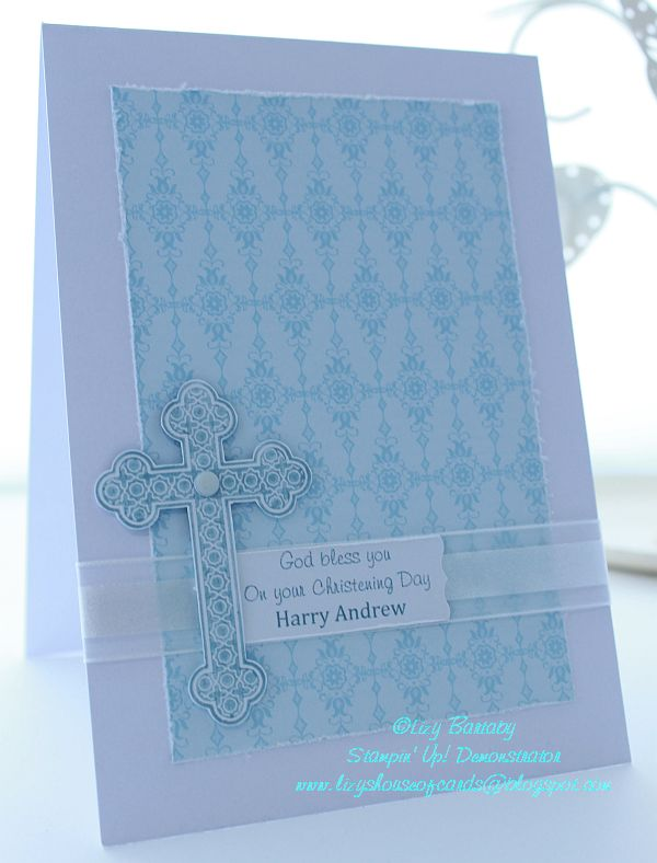 Lizy's House Of Cards: Boy Christening card