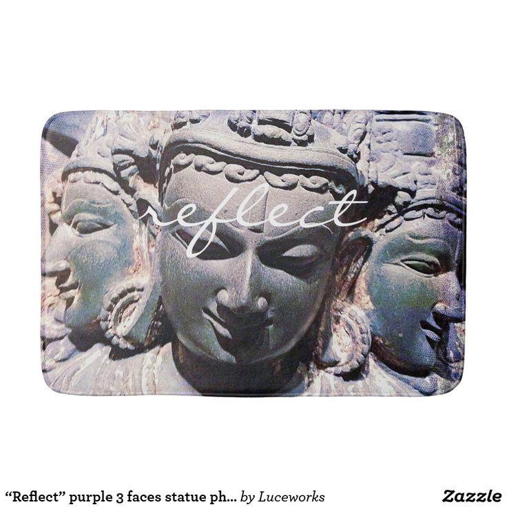 """Reflect"" Quote Asian Stone Faces Statue Photo Bath Mat"